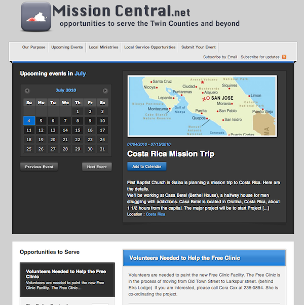 Missioncentral.net screenshot